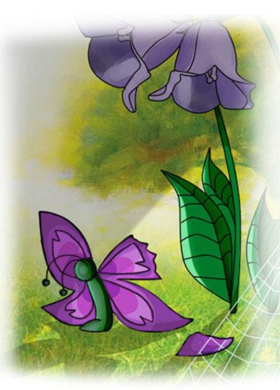 Присела бабочка под листком колокольчика и горько заплакала