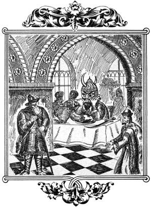 Сидит Идолище за столом, хамкает, по ковриге в рот запихивает