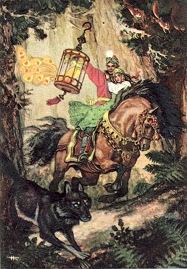 А серый волк пустился наутек и скоро догнал Ивана-царевича