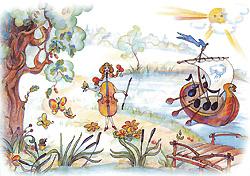 Скрипка пригляделась и заметила плывущую по реке лодку