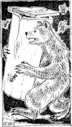 Медведь приволок улей