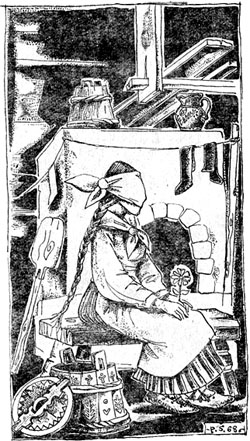 Села девица в избе на лавку и ждет