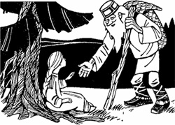 Увидел старик под елкой девочку-красавицу