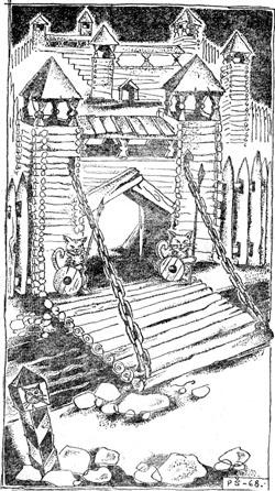 Стоит перед ним большой дворец, а у ворот два огромных кота сидят