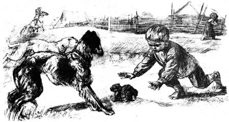 Собаки хотели схватить котёнка, но Вася упал животом на котёнка и закрыл его от собак