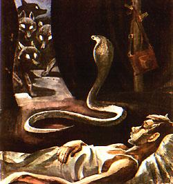 Змея с раскрытым капюшоном, мерно раскачиваясь, нацелилась на пришельцев