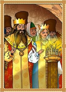 Царь недолго собирался:В тот же вечер обвенчался