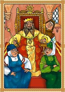 А ткачиха с поварихой, С сватьей бабой Бабарихой Около царя сидят