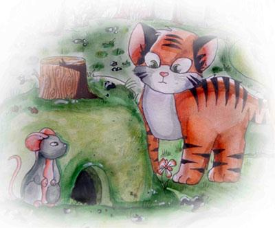 Тигренок и мышь